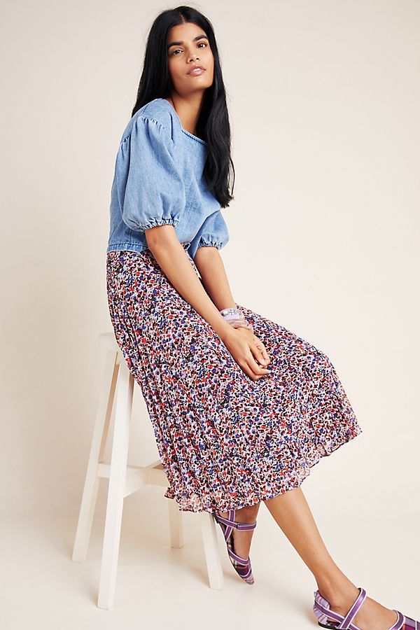 Slide View: 1: Phia Pleated Button-Front Maxi Skirt