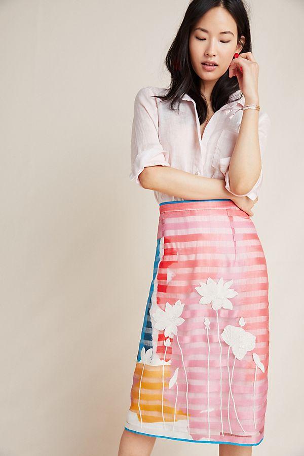 Slide View: 1: Melisa Floral Striped Skirt