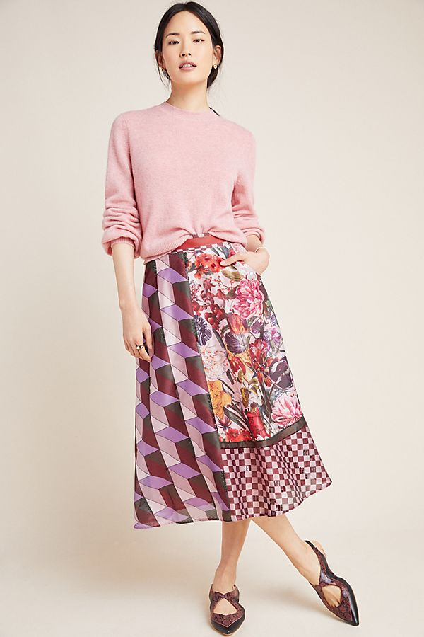 Slide View: 1: Rampling Embroidered Midi Skirt