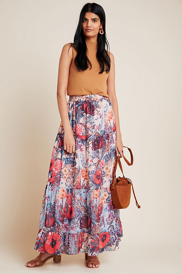 Slide View: 1: Amirita Floral Tiered Maxi Skirt