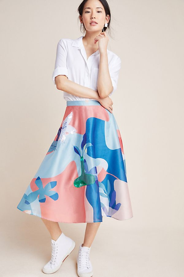 Slide View: 1: Abstract Garden Skirt