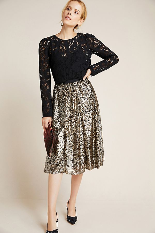 Slide View: 1: Orleans Sequined Midi Skirt