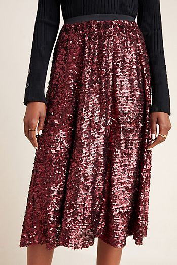 Orleans Sequined Midi Skirt