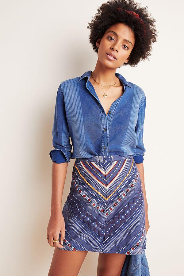 Slide View: 1: Embroidered Denim Mini Skirt