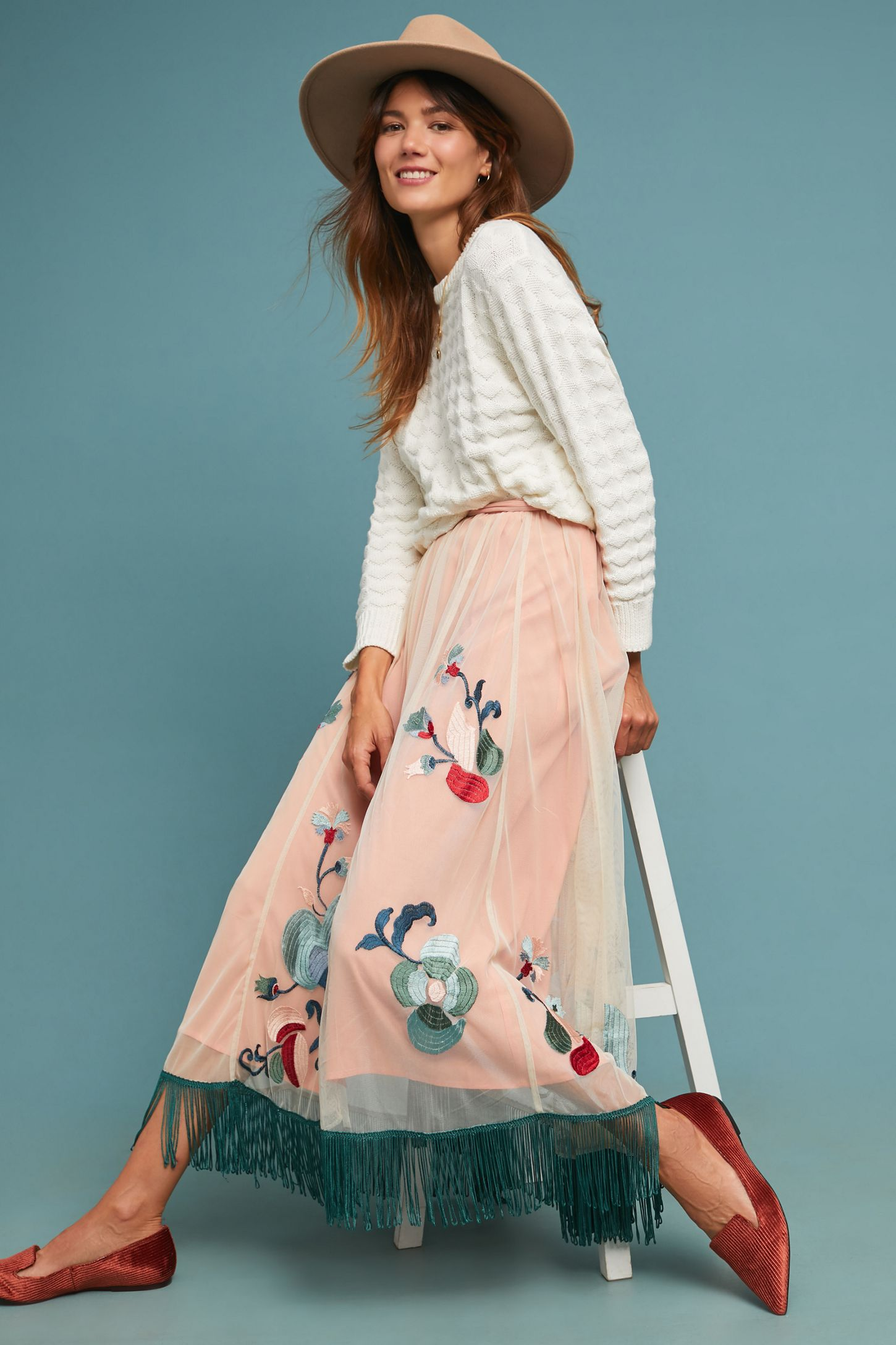 0ad16a465a1a Fringed Tulle Skirt | Anthropologie