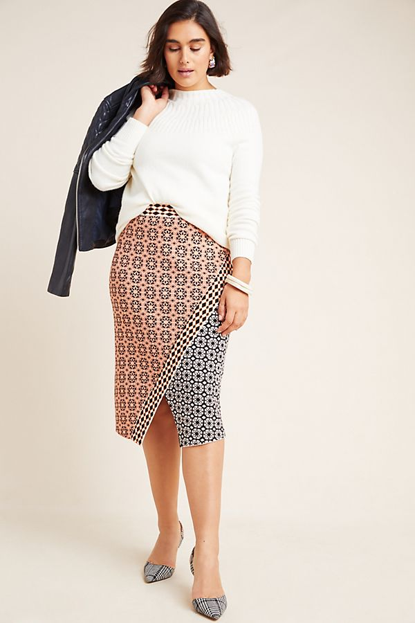 Slide View: 1: Brisa Abstract Sweater Pencil Skirt