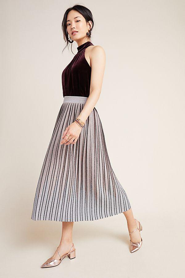 Slide View: 1: Pilar Pleated Metallic Midi Skirt