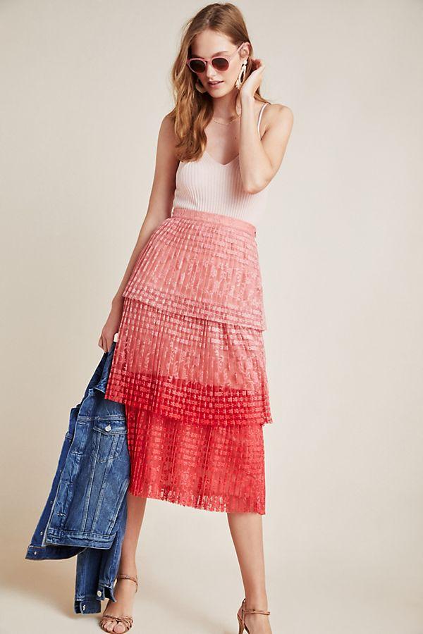 Slide View: 1: Brighton Tiered Midi Skirt