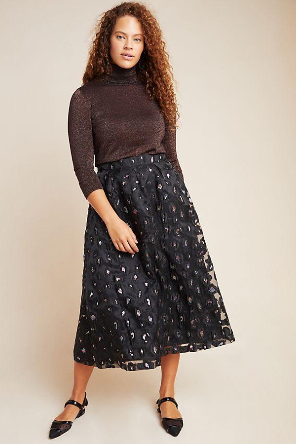 Slide View: 1: Aubrey Jacquard Maxi Skirt