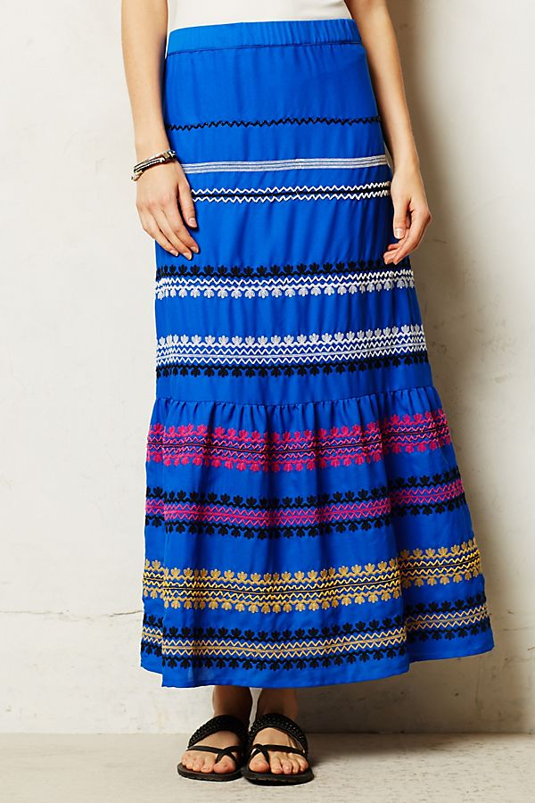 adf1e9fb99a1 Lapis Embroidered Skirt | Anthropologie
