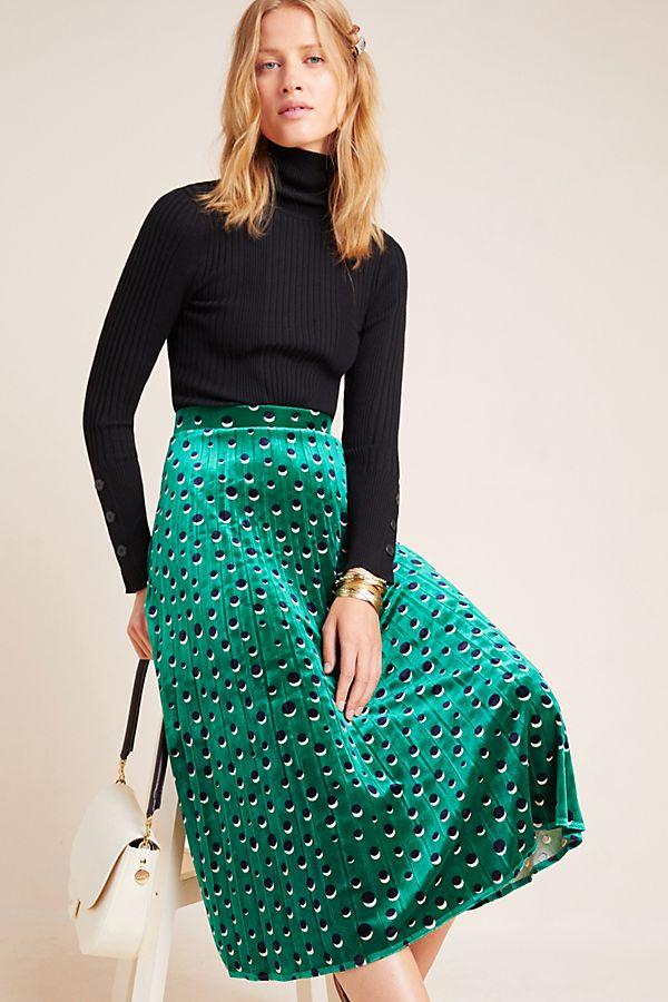 Slide View: 1: Carly Pleated Velvet Midi Skirt