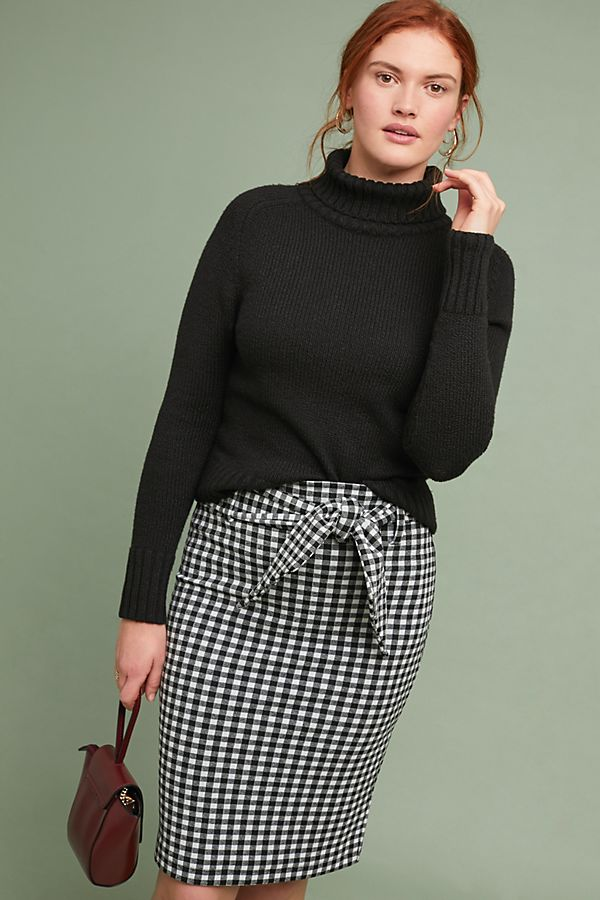 d3873f21ed Nagla Gingham-Jacquard Pencil Skirt | Anthropologie UK