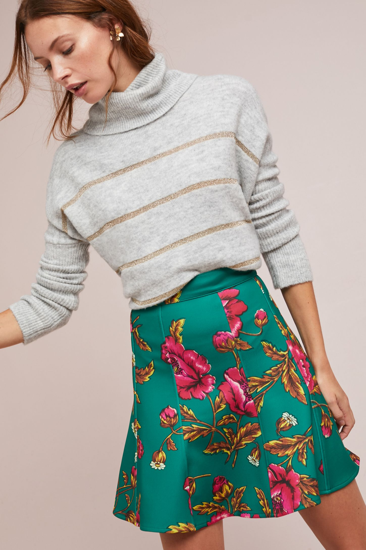 64e4e754 Hibiscus Skater Skirt | Anthropologie