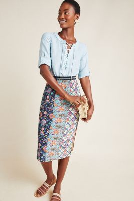 Azure Pencil Skirt by Tanvi Kedia