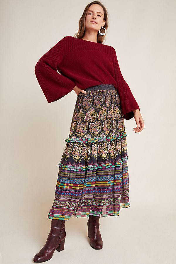 Slide View: 1: Cora Tiered Midi Skirt