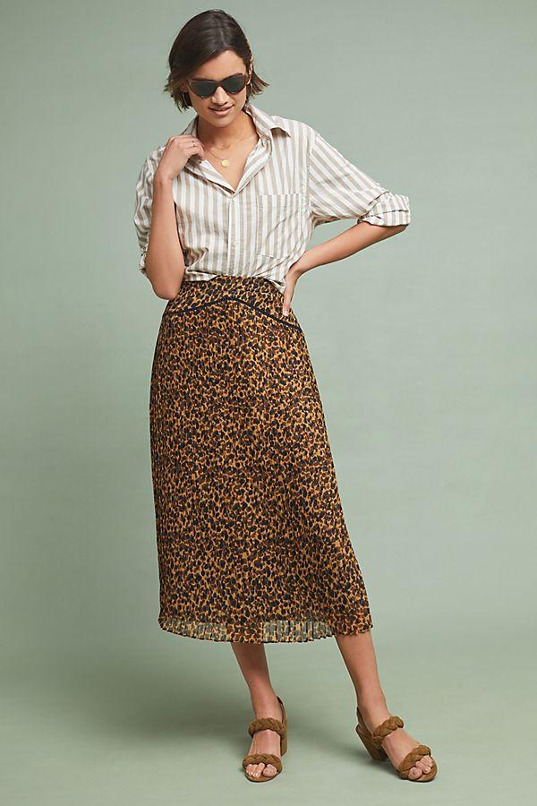 f89298fc9 Pleated Leopard Midi Skirt | Anthropologie