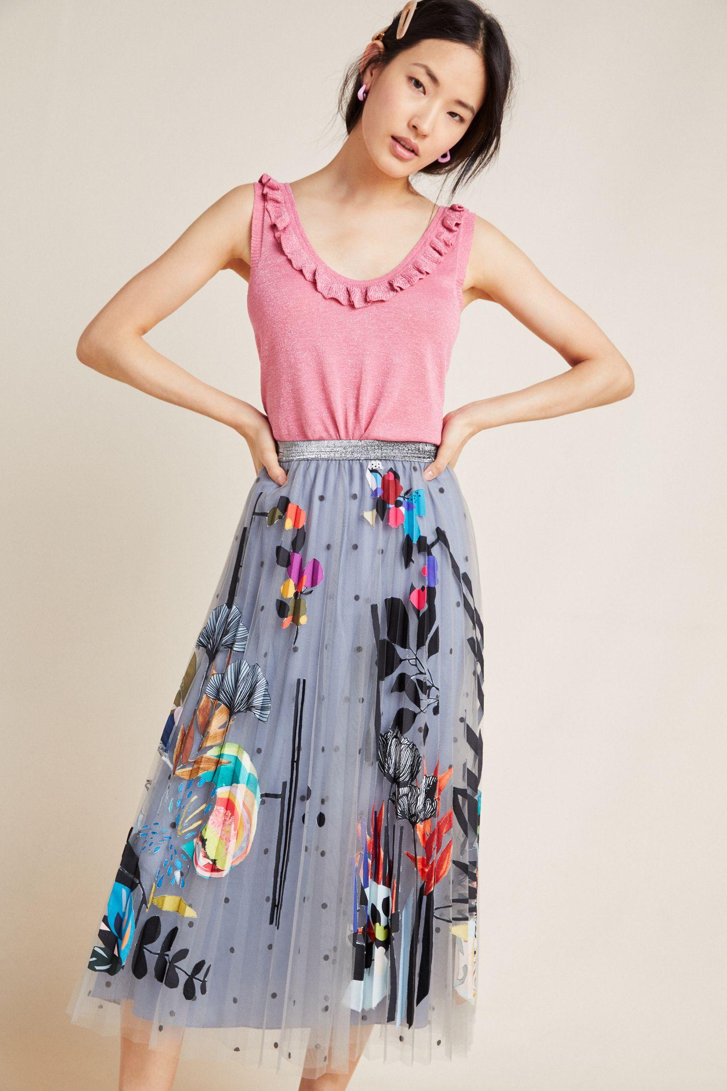 b375e00560 Zara Applique-Tulle Skirt | Anthropologie UK