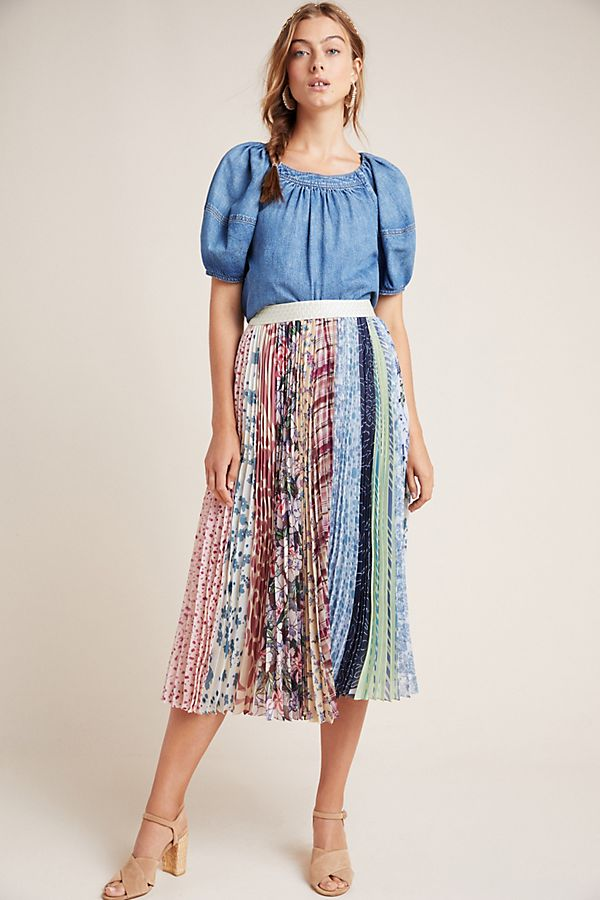 Slide View: 1: Lucienne Pleated Midi Skirt