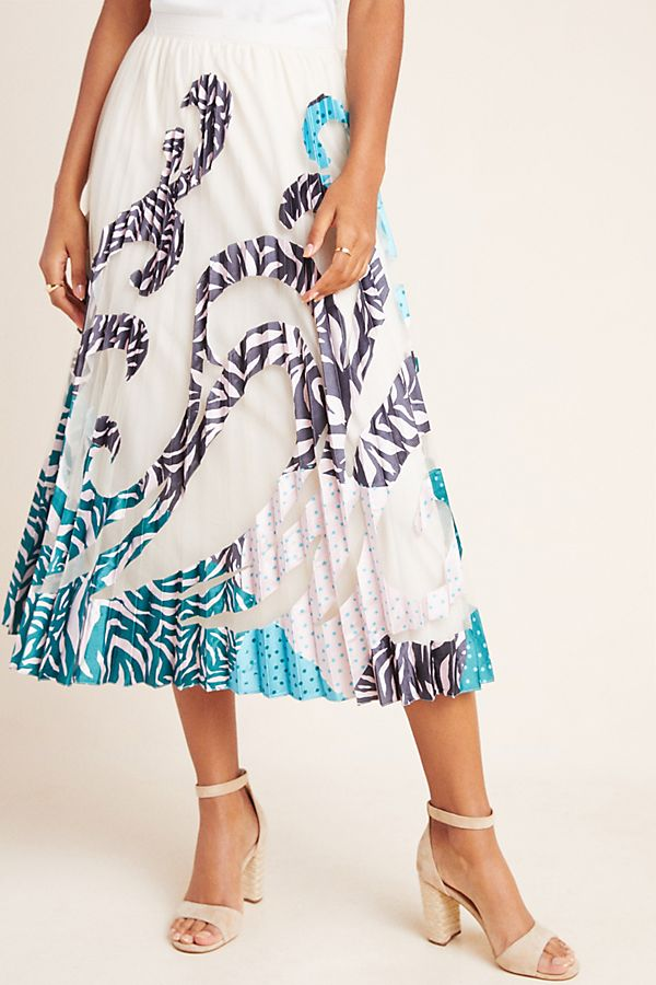 Slide View: 4: Rochelle Pleated-Applique Maxi Skirt
