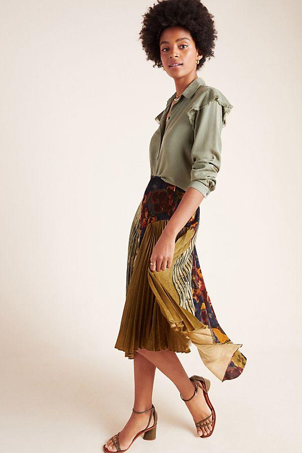Slide View: 1: Paulette Pleated Midi Skirt