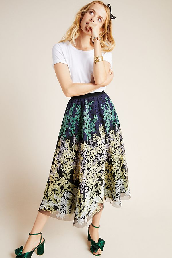 Slide View: 1: Julie Embroidered Tulle Skirt