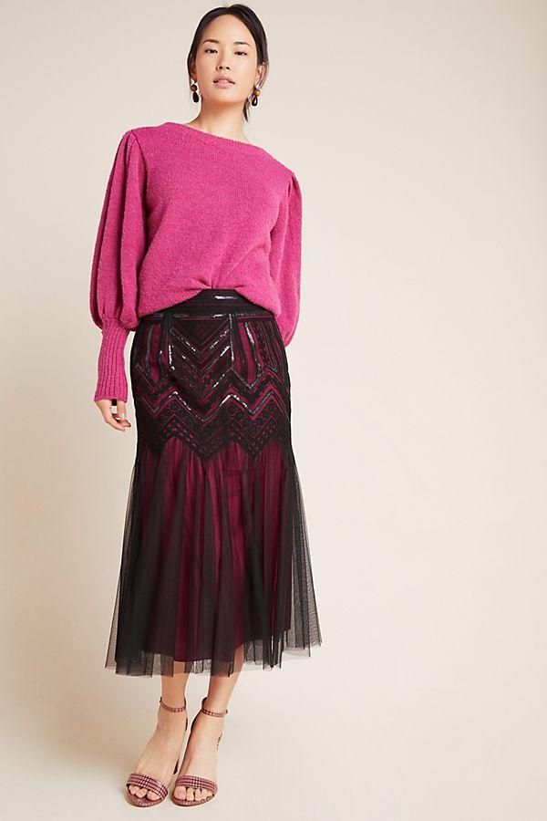 Slide View: 1: Marlee Sequined Tulle Midi Skirt