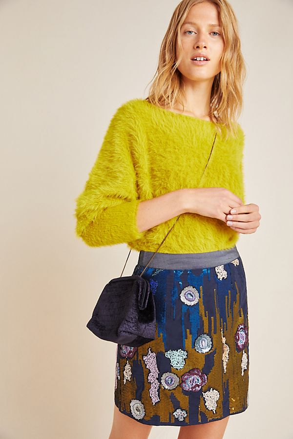 Slide View: 1: Georgette Sequined Mini Skirt