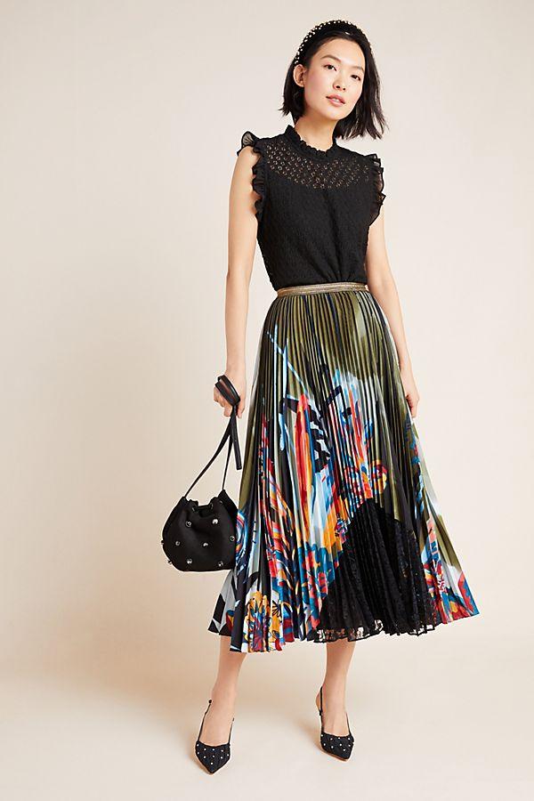 Slide View: 1: Lisabetta Pleated Maxi Skirt