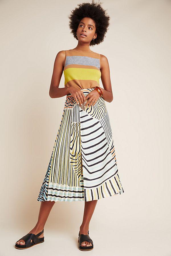 Slide View: 1: Ludovica Pleated Midi Skirt