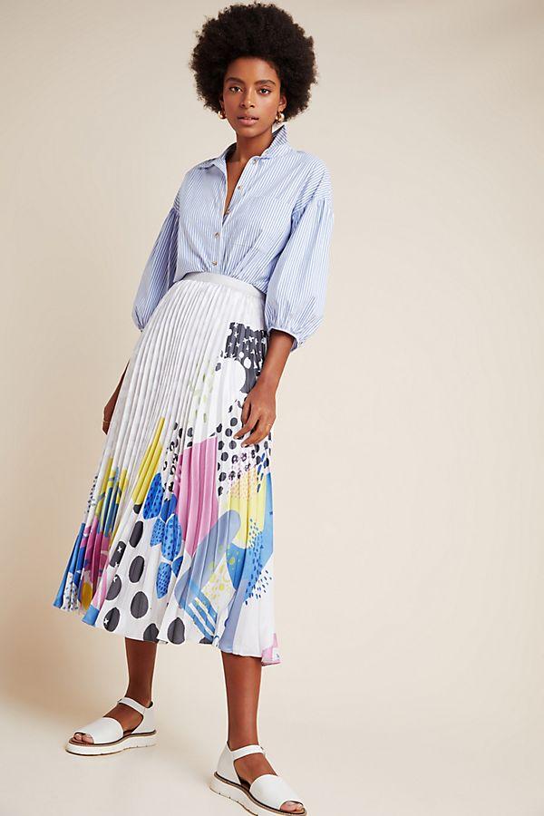 Slide View: 1: Geometric Pleated Midi Skirt