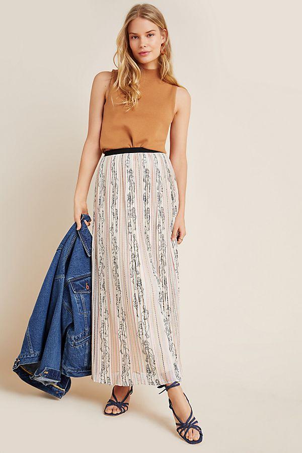 Slide View: 1: Renoir Pleated Tulle Maxi Skirt