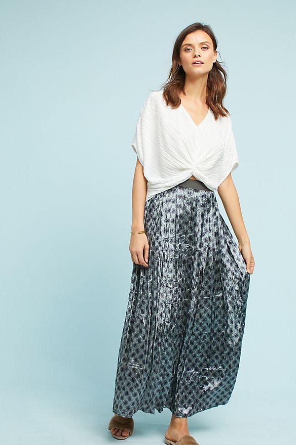 eaf1703024 Pleated Velvet Maxi Skirt   Anthropologie