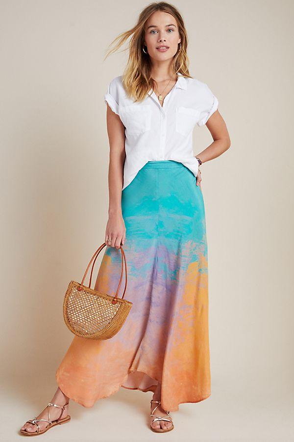 Slide View: 1: Amalia Tie-Dyed Bias Maxi Skirt