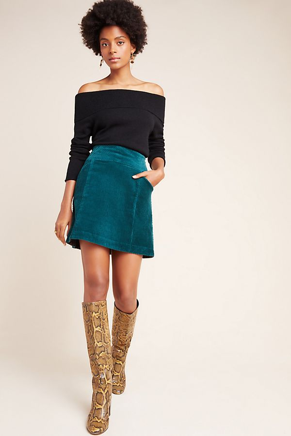 1: Slim Corduroy Velvet Mini Skirt Off-shoulder tops