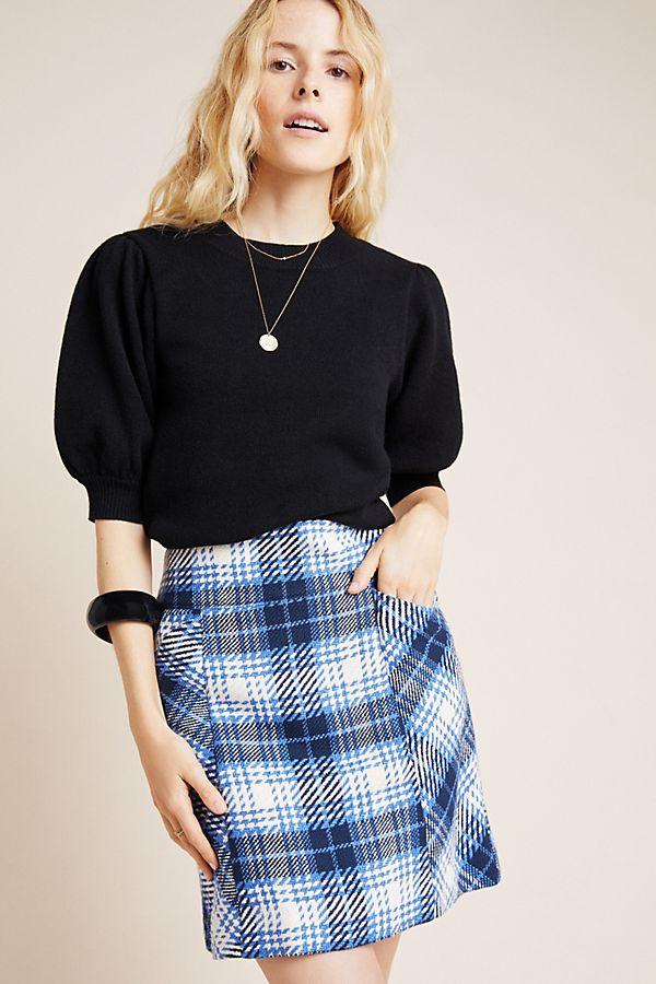 Slide View: 1: Slim Corduroy Velvet Mini Skirt