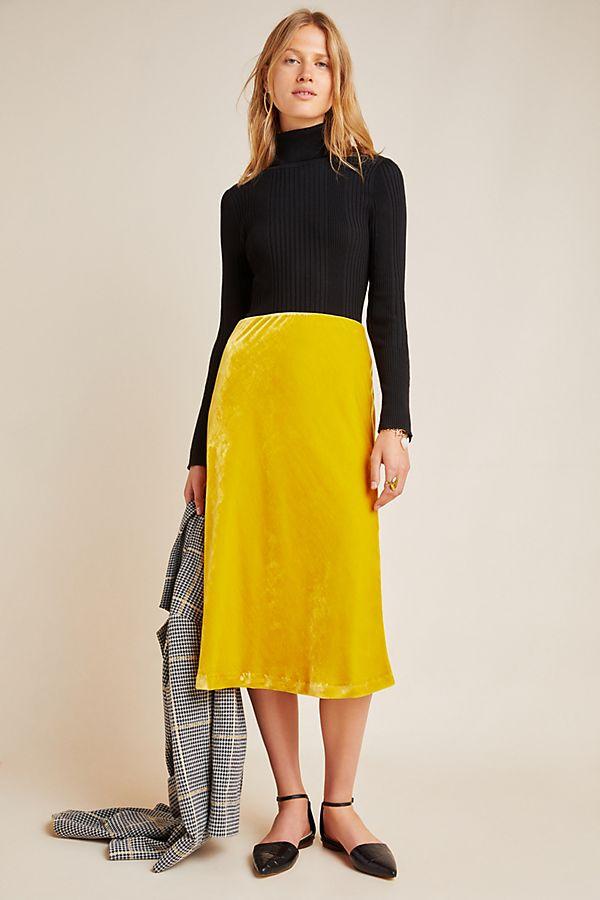 Slide View: 1: Kelly Velvet Midi Skirt