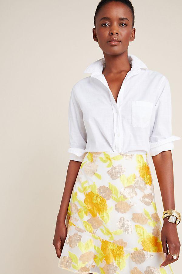 Slide View: 1: Faye Flounced Jacquard Mini Skirt