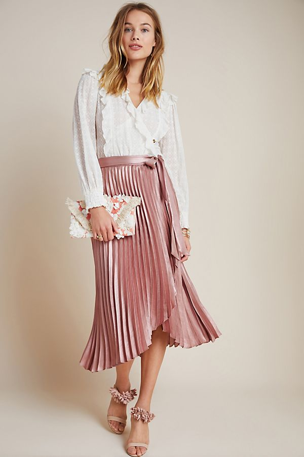 Slide View: 1: Paulina Pleated Midi Skirt