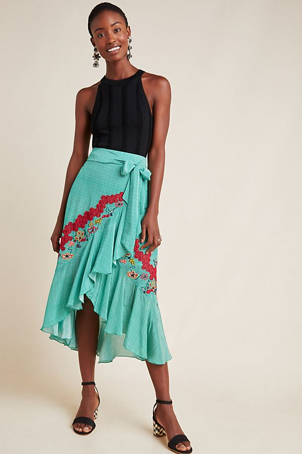 Slide View: 1: Santorini Embroidered Midi Skirt