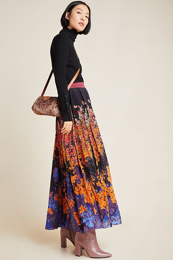 Slide View: 1: Kala Pleated Maxi Skirt