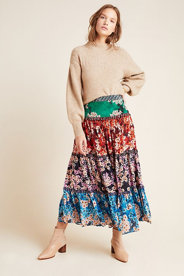 Slide View: 1: Anarosa Tiered Maxi Skirt