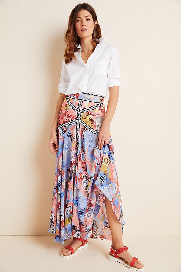Slide View: 1: Taylor Embroidered Maxi Skirt