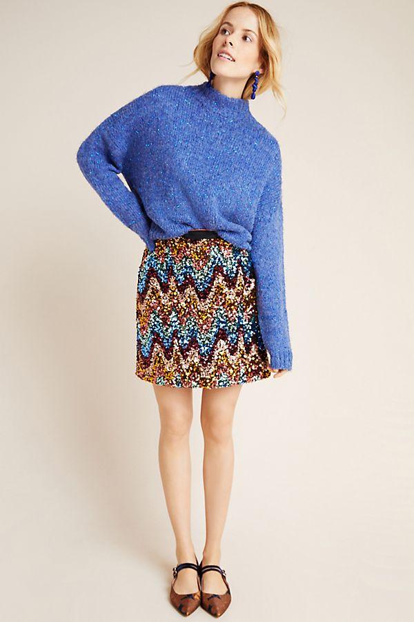 Slide View: 1: Zig-Zag Sequined Mini Skirt