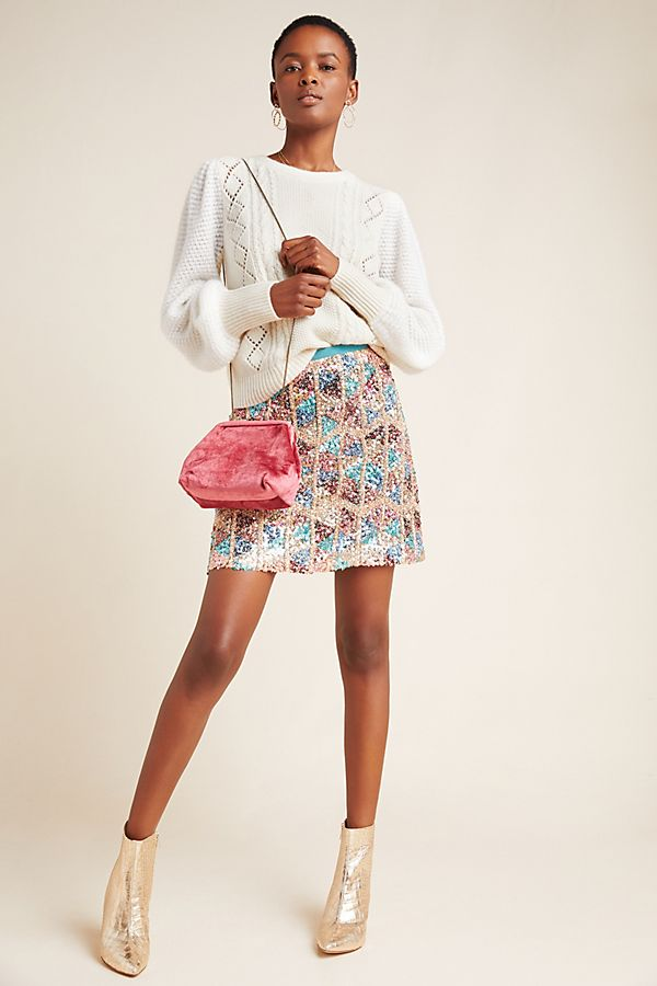 Slide View: 1: Zig-Zag Sequined Mini Skirt