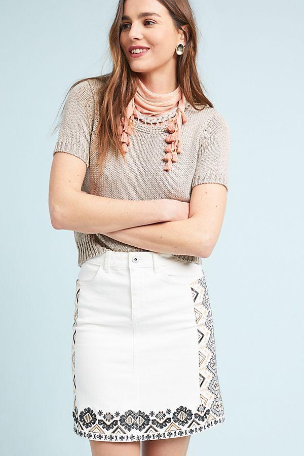 c23c4b1b57 Pilcro Embroidered Denim Mini Skirt | Anthropologie