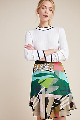 Slide View: 1: Abstract Jungle Sweater Skirt