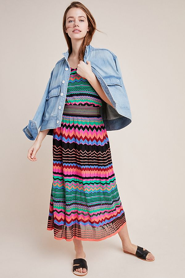 Slide View: 1: Chevron Knit Midi Skirt