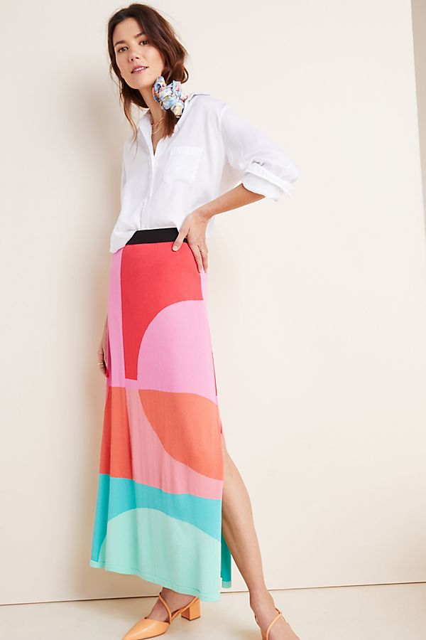Slide View: 1: Arely Colorblocked Sweater Maxi Skirt