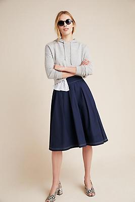 Slide View: 1: Stitched Poplin Skirt