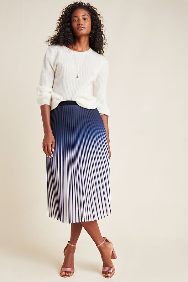 Luna Ombre Pleated Midi Skirt by Anthropologie